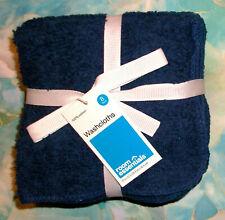 Room Essentials Navy Blue Plush Bath Washcloth Set of 8 100% Cotton