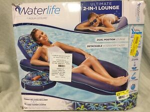AQUA Ultimate 2 in 1 Recliner + Tanner w/Caddy Inflatable Pool Float Raft Lounge