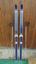 "VINTAGE Wooden 65"" Skis Has BLUE Finish + Metal Poles"