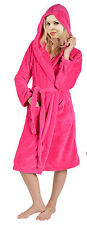 Womens Ladies Warm Hooded Super Soft Fleece Dressing Gown Robe With Hood