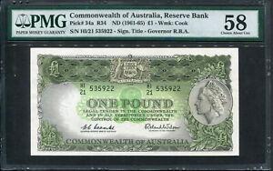 Australia 1961-1965, 1 Pound, P34a, PMG 58 AUNC