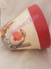 Hand Painted and Decoupaged Traditional Christmas Robin Plant pot
