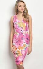 NWT Women's Medium Pink Bodycon Floral Mini Easter Dress Spring Summer BOUTIQUE