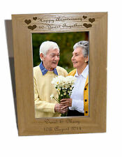Happy Anniversary, 10 years Wooden Photo Frame 4x6  - Free Engraving