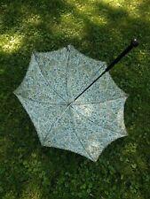 """Vintage 30"""" Parosel Umbrella Teal Golden Olive Black White With Wood Handle"""