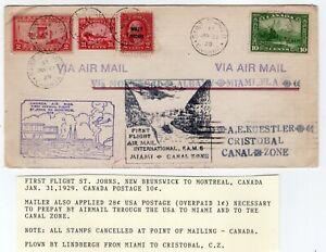 Lindbergh Flight FAM 5-1 Miami - Cristobal Canal Zone Flown Twice Canada 1929