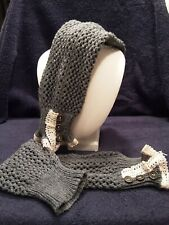 Womens Knit Arm Warmers with crocheted white lace cuffs