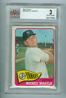 Mickey Mantle 1965 Topps Baseball Card #350 NY Yankees BVG Graded 3 VG