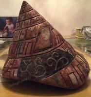 Hieroglyphic Ceramic Spiral Sea Shell Sculpture Vase, Pink, Gold, Cream, Blue