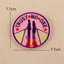 TRUST NO ONE Embroidered Sew Iron On Patch Badge Fabric Bag Clothes Applique DIY