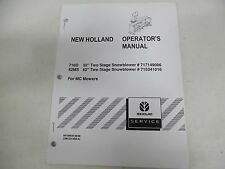 "New Holland 716D & 62Ms 52"" & 62"" Snowblowers for Mc Mowers Operator's Manual"