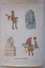 1845 CARATTERI FISIONOMICI MESSICO PALENQUE acquaforte Marmocchi Mexico Maya