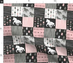 Horse Patchwork Pink Black Gray Wild Horses Spoonflower Fabric by the Yard