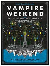 VAMPIRE WEEKEND SEATTLE CONCERT TOUR POSTER: CHVRCHES/ PHOENIX/ ALT J/FOALS 2013