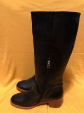 $400 Coach Cecelia Riding Black Leather Zip Tall Boots Womens 9B  NWOB
