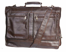 Genuine Luxury leather suit carrier garment dress travel weekend cabin bag Brown