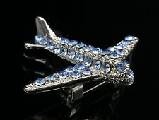 sparkly blue crystal jet airplane aircraft scarf brooch pin Birthday gift D36