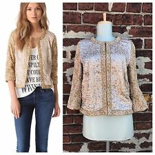 Haute Hippie sz S Gold Embroidered Sequin Beaded Embellished Jacket Blazer $695
