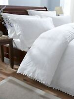 Luxurious Percale Embroidered Broderie Anglais Duvet Quilt Cover Bedding Set