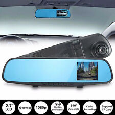 2.7'' HD 720P Car Dual Lens Rearview Mirror DVR Recorder Dash Camera Cam Kit