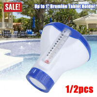 "Floating Swimming Pool Chlorine Dispenser with Thermometer Up to 1"" Bromine UK"