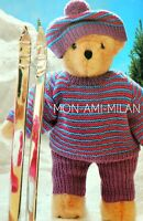 Knitting Pattern TEDDY BEAR Dolls Clothes SKI-ING OUTFIT WINTER SPORTS Top Pants