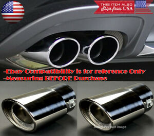 "2 x Polished Stainless Steel Exhaust Muffler Tip For Nissan Infiniti 1.5-2"" Pipe"