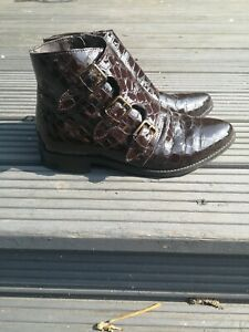 ASOS Burgundy Patent Moc Croc Buckle Ankle Boots Size 5