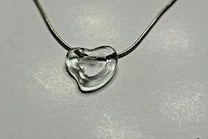 Tiffany & Co Rock Crystal Hand Carved Heart SS Pendant Necklace