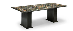 """72"""" x 42"""" Marble Table Top semi precious stones Inlay With marble Stands"""