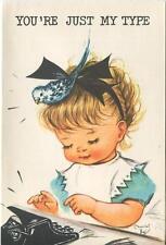 VINTAGE CUTE GIRL OLD TYPEWRITER TYPING BLUE BIRD HAIR DO BLACK RIBBON ART CARD