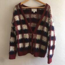 JOA Multicolor Striped Fuzzy Cardigan Sweater Size Small Button Up