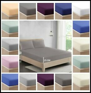 25cm Deep Fitted Sheet 100% Poly-Cotton Non-Iron Bed Sheet Single Double King