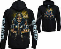 New Grim Reaper Glow In Dark Tattoo Goth Zip Zipped Hoodie Hoody Jacket M - XXL