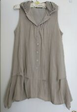 Ladies Linen Look Vest Tunic Overcoat French Size 14