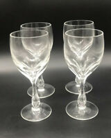 4 Antique Josephinenhutte Josair Germany Silhouette Cut Wine Glasses Bubble Stem