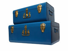 Zanzer Storage Trunks Space Saving Organizer Vintage Style Gold Clasp 2 Set Blue
