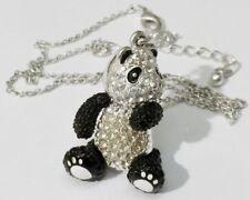 pendentif chaine bijou rétro panda couleur argent et noir cristaux diamant /81