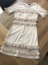 TOPSHOP SHEER PANEL RUFFLE DRESS - SIZE 6