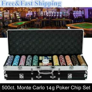 500ct. Las Vegas Poker Club Poker Set 14g Clay Composite Chips w/Aluminum Case