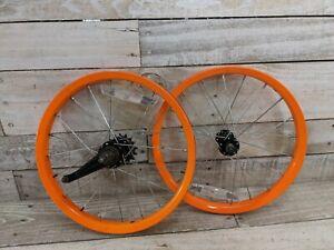 "2000s Orange Single Speed Coaster Brake Steel Wheelset 16"" Pit Bike BMX"