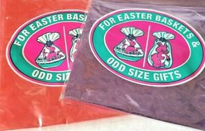 """4 New, Easter Cello Bags, Basket Wraps 2 Purple 2 Red, 22"""" X 24"""" X 11"""" NEW"""