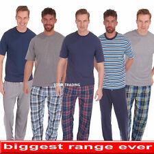 Mens Pyjamas Set Pjs Check T-shirt TOP  & LOUNGE Bottoms Pants Pajamas