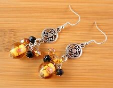 1 Handmade Amber Pair of Hand Blown Glass Dangle Earrings with Beads #844