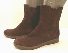 Rockport Above Ankle Short Pull On Boot Shoes Brown Suede Leather Womens 8M EUC