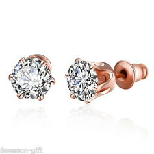 2017 Women Elegant Rose Gold Flower Rhinestone Stud Earrings Crystal Jewelry