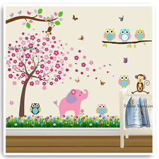 Owl Animal Wall Stickers Monkey Jungle Zoo Tree Nursery Baby Bedroom Decals Art
