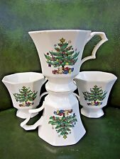"NIKKO JAPAN ""CHRISTMASTIME"" FOOTED TEA/COFFEE CUPS CHRISTMAS TREE  SET OF 4"