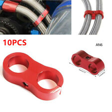 "10Pcs 14mm 0.55"" AN6 Braided Hose End Clamp Oil Gas Fuel Line CNC Separator Red"