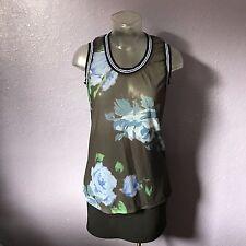 ASOS Sheer Mesh Black Green Blue Graphic Floral Sleeveless Tank Top Tee 6 TRENDY